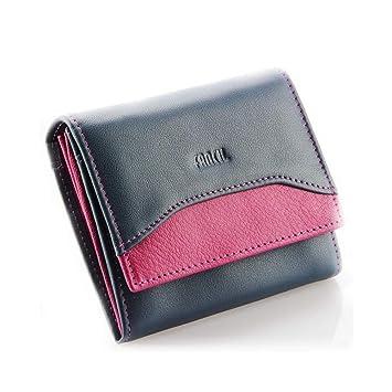 Pequeño billetero de piel auténtico, cartera de mujer, cartera niña N1664 AZUL/VIOLET: Amazon.es: Equipaje