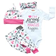 gllive Baby Girls Clothes Long Sleeve Miracles Romper Outfit Pants Set +Hat+Headband (0-6 months, pink) Tag 70