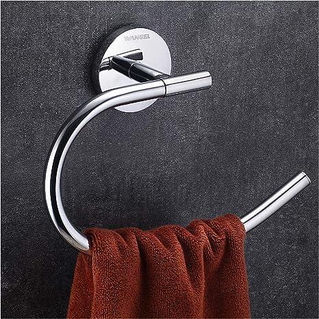 Wangel Toalleros de aro para baño, Toallero Anilla 200mm Montado en la Pared, Acero Inoxidable, Acabado Cromado