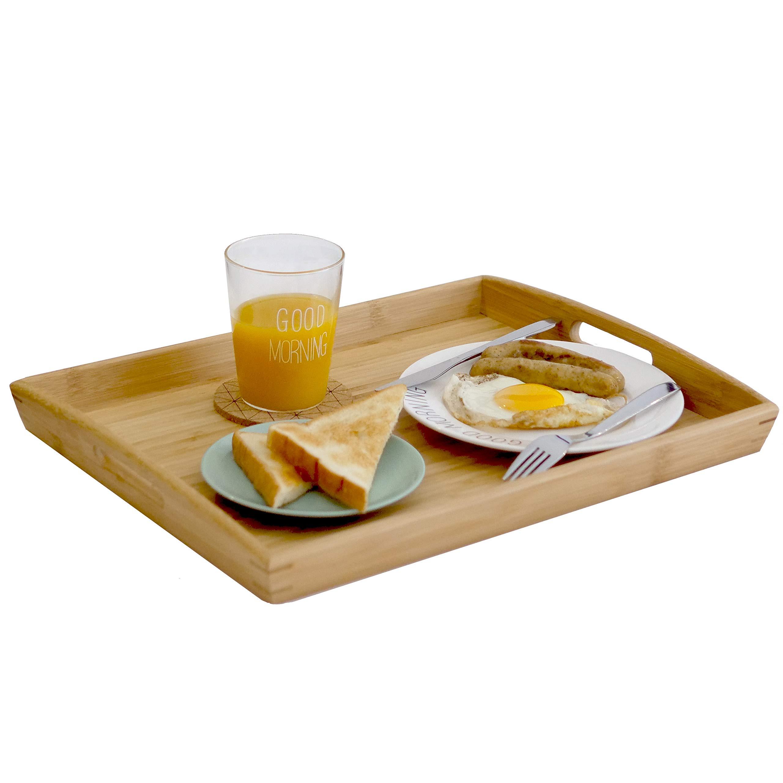 Joy&Grace 100%BambooWoodButlerServingTraywithHandles - Breakfast/Coffee TableTray, DecorativeOttomanTray, ServingPlatterforParty,17''×13''
