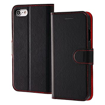 bee3c71019 レイ・アウト iPhone8 / iPhone7 ケース 手帳型 シンプル マグネット ブラック/レッド RT-