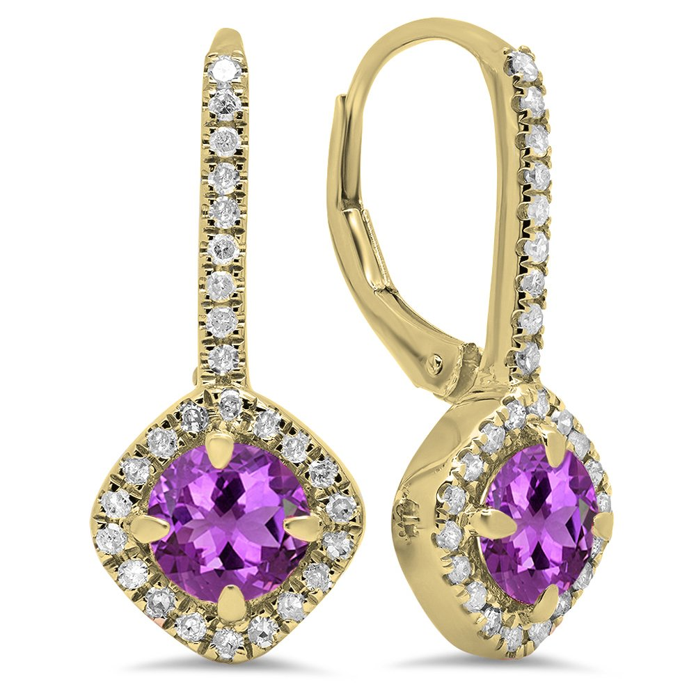 14K Yellow Gold Round Cut Amethyst & White Diamond Ladies Halo Style Hoop Earrings