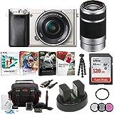 Sony Alpha a6000 Mirrorless Camera w/ 16-50mm & 55-210mm Lenses & 128GB Bundle - Silver
