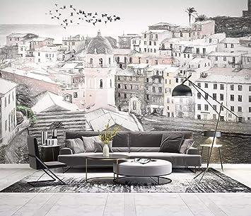 Duvarkapla Akdeniz Tarzı şehir Mimarisi Modern çizim Arka Plan Duvar