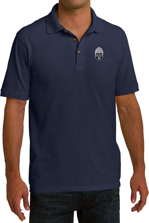 Buy Cool Shirts Yoga Buddha Head Patch Pocket Print Pique Polo