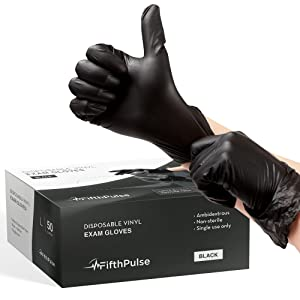 FifthPulse Black Vinyl Disposable Gloves Large 50 Pack - Latex Free, Powder Free Medical Exam Gloves - Surgical, Home, Cleaning, and Food Gloves - 3 Mil Thickness