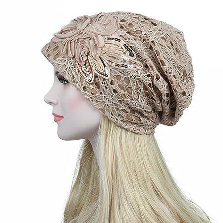 0981e7a21d533 JIANGfu Women Stretch Turban Hat Sequins Lace Flower Slouchy Baggy Hair  Loss Headscarf Wrap Head Cap Chemo Beanie Hat (Khaki)  Amazon.co.uk   Kitchen   Home