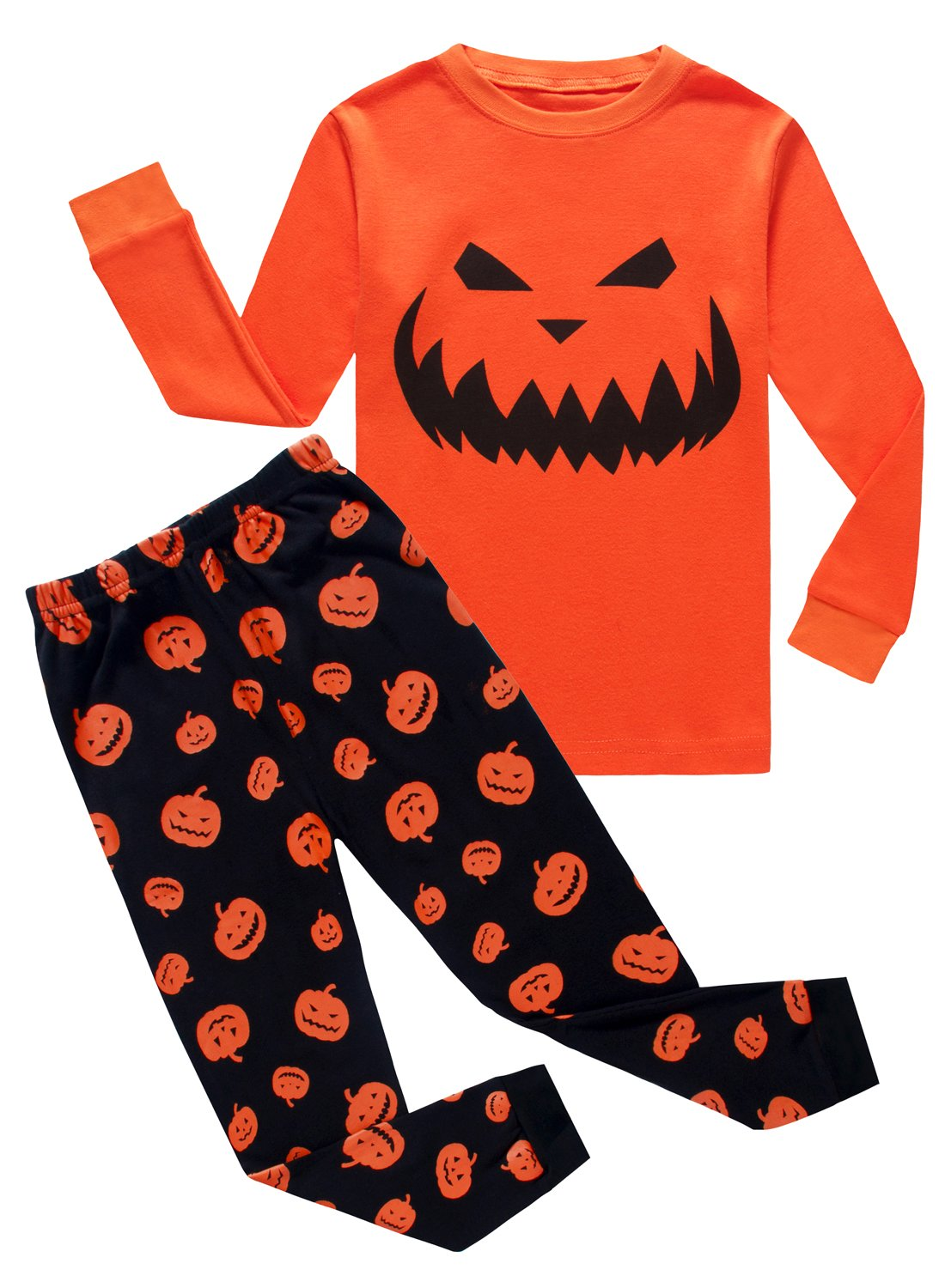 Family Feeling Halloween Pumpkin Little Boys Girls Pajamas Sets 100% Cotton Clothes Toddler Kids Pjs Size 5