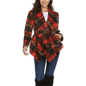5562941d7e9 Romanstii Stylish Women s Asymmetric Hem Wool Wrap Coat Turn Down Collar  Warm Elegant Jacket