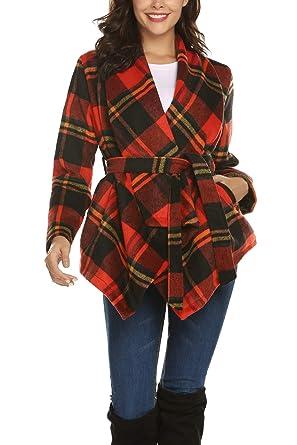 5f1863129596 Romanstii Womens Winter Long Sleeve Luxury Wrap Coat Unique Design with Belt  Warm Pockets Outwear Casual