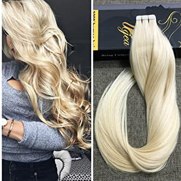 Amazon ugeat 22 20pcs 50g weight tape on hair extensions ugeat 22quot 20pcs 50g weight tape on hair extensions bleach blonde color 613 tape in pmusecretfo Image collections