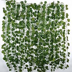 12 tiras plantas artificiales colgantes enredaderas falsas hiedra decorativas guirnaldas hojas - Plantas artificiales exterior ...