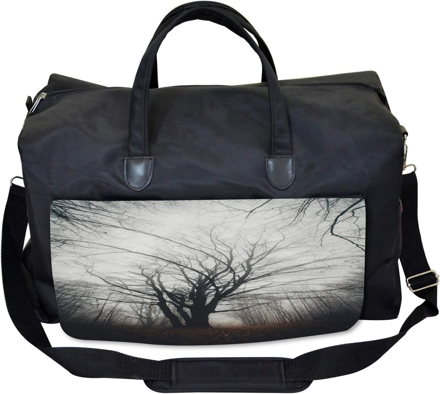 Ambesonne Nature Gym Bag Autumn Tree in Fog Dark Large Weekender Carry-on