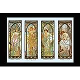 Alphonse Mucha 'Times of Day' A3 Poster, 42 x 30 cm, Morning Awakening, Brightness of Day, Evening Reverie & Nights Rest, Art Nouveau Giclee Print