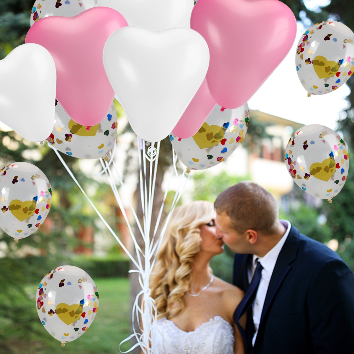 15 Pcs Heart Confetti Balloons with 30 Pcs 12 \'\' Pink and White Latex Heart Shape Party Balloons for Wedding Renewal Valentine\'s Bridal Shower Party Bachelorette Celebration Anniversary