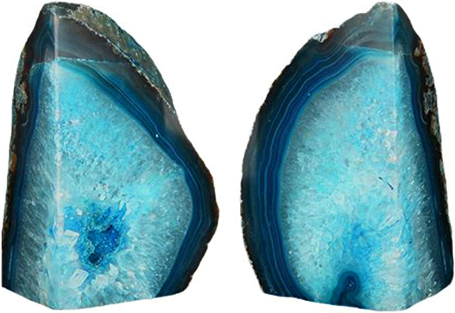 AMOYSTONE Green Agate Bookends Heavy Book Ends 1 Pair Dyed Teal 6-8 lbs Large Office Bookshelf