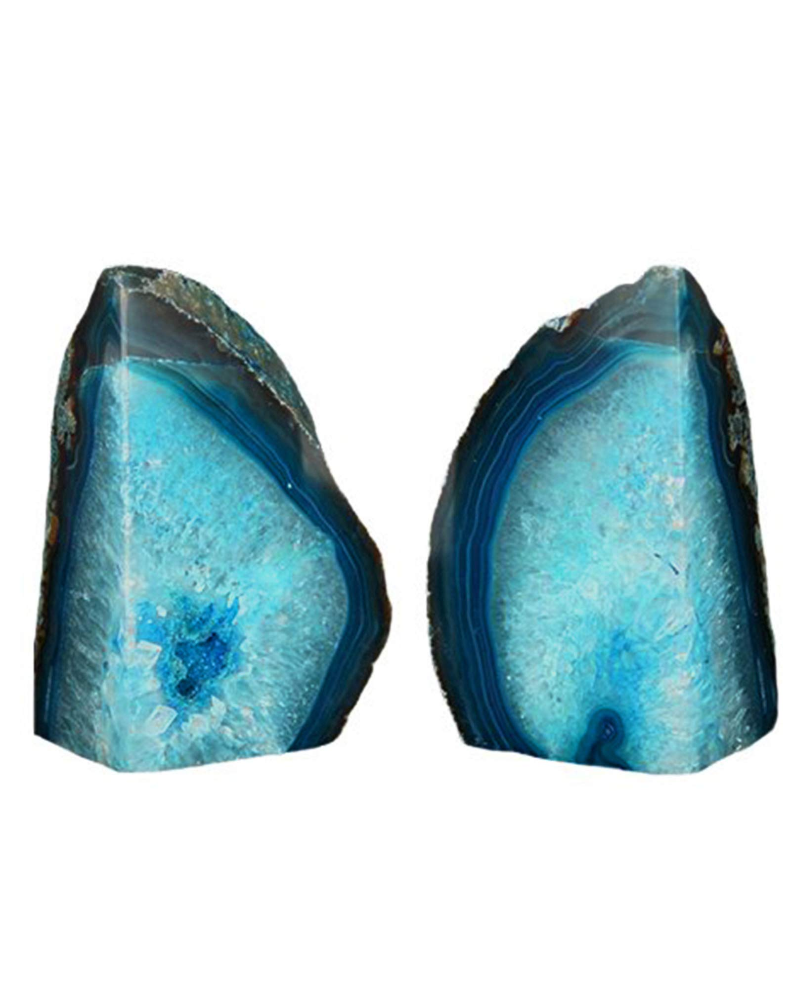 AMOYSTONE Green Agate Bookends Book Ends Pair Dyed Teal Pair 6-8 lbs Office Bookshelf by AMOYSTONE