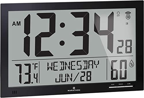 MARATHON CL030062BK Slim-Jumbo Atomic Digital Wall Clock with Temperature, Date and Humidity Black