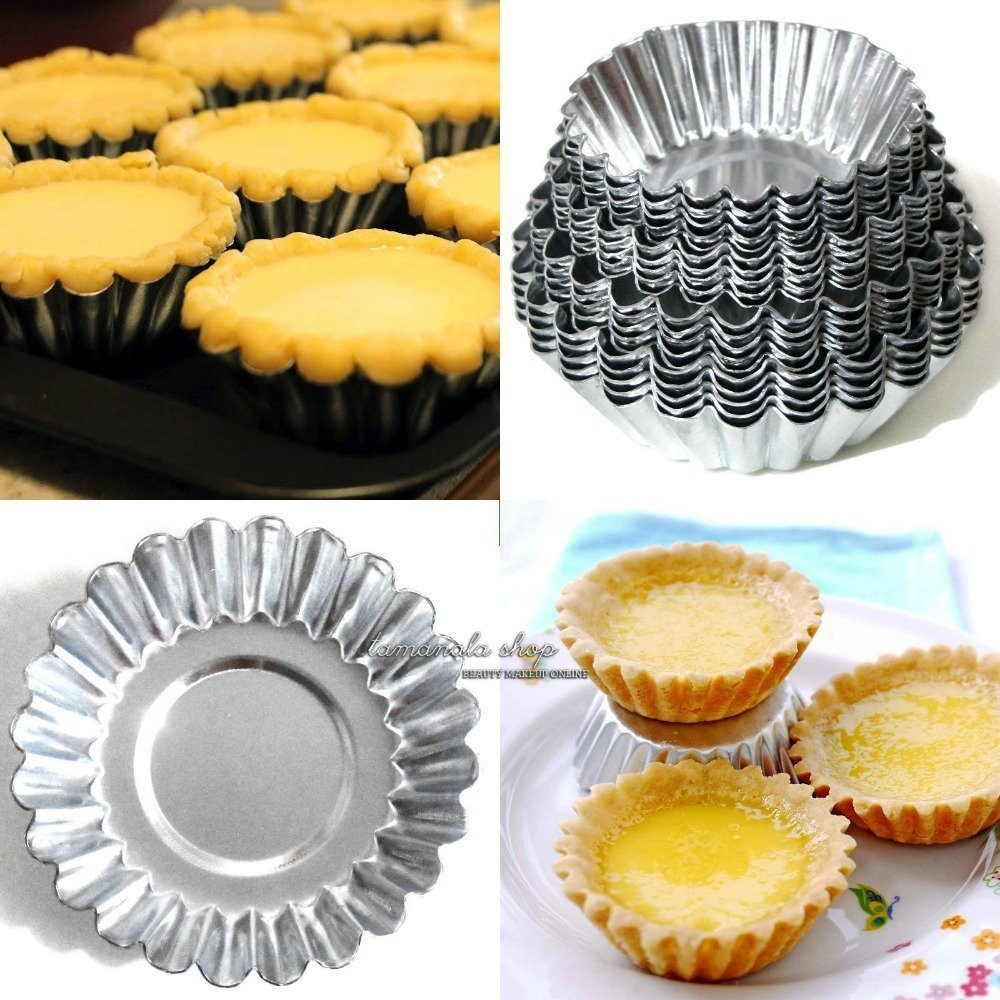Joinor 4 Sizes 40pcs Egg Tart Aluminum Cupcake Cake Cookie Mold Lined Mould Tin Baking Tool by Joinor (Image #2)