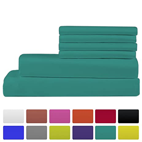 Premium Bamboo Bed Sheets   Queen Size, Teal Sheet Set   Deep Pocket   Ultra