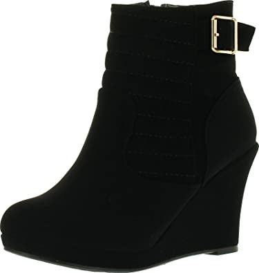 Cotton 16 Womens Buckle Wedge Ankle Booties Black