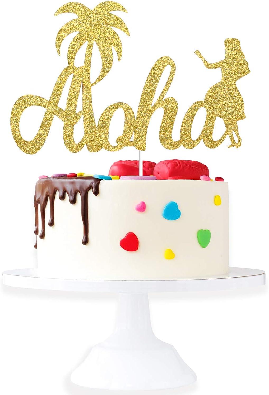 Aloha Happy Birthday Cake Topper - Hawaii Tropical Luau Gold Glitter Décor - Summer Beach Poor Parties - Wedding Anniversary Hula Girl Palm Tree Cake Derocation