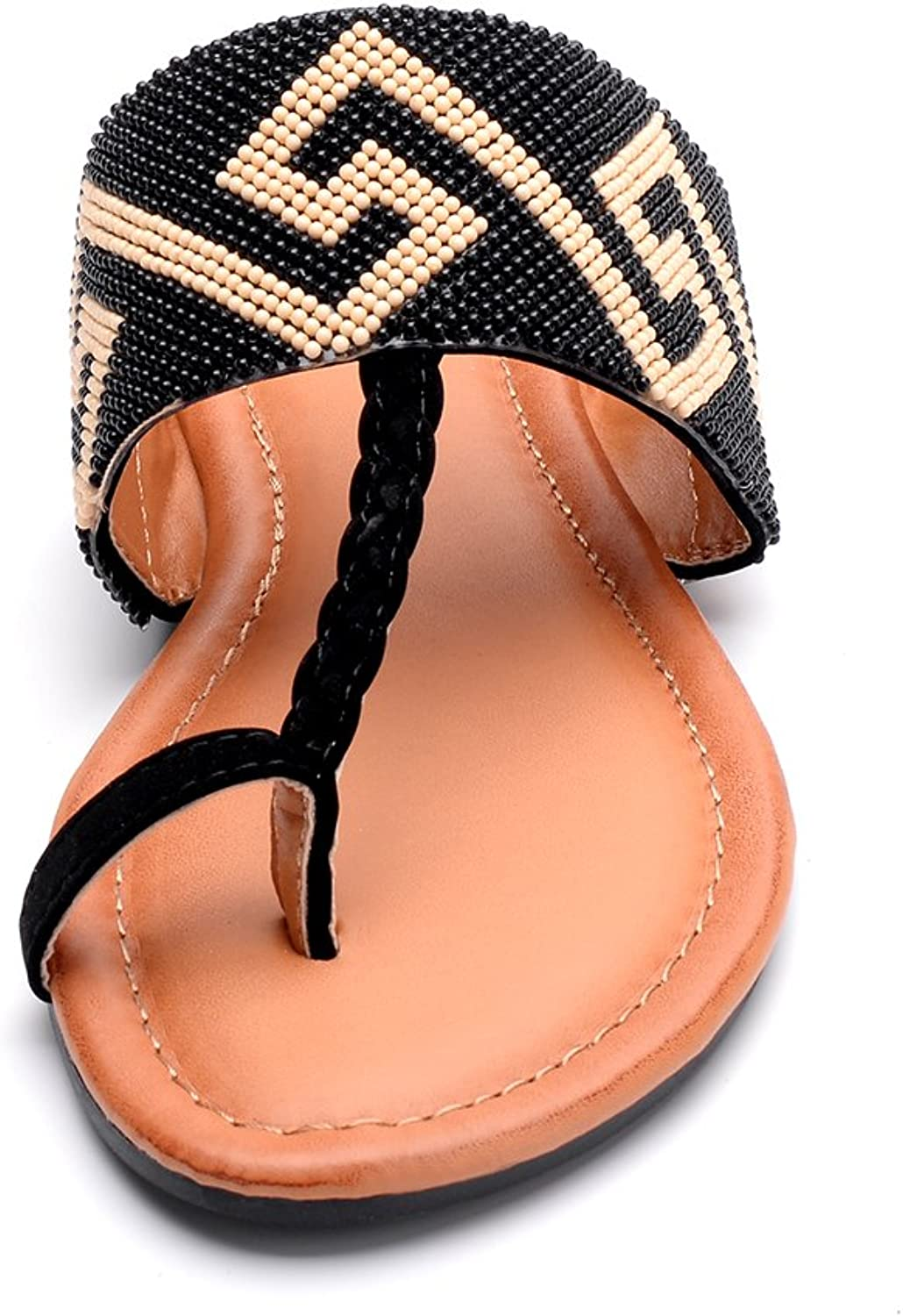 Amy-1 Tribal Beaded Indian Accent Toe Ring Flat Sandal Mila Lady