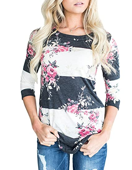 3d9c2df9 Andaa Womens Crew Neck 3 4 Sleeve Floral Printed Tunic Shirts Casual Color  Block Blouses and