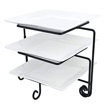Serving Trays Tableware, Serving & Linen Vancasso 3 Tier Serving Platter Cake Stand Tray 10.5 Food Display Plate Rack