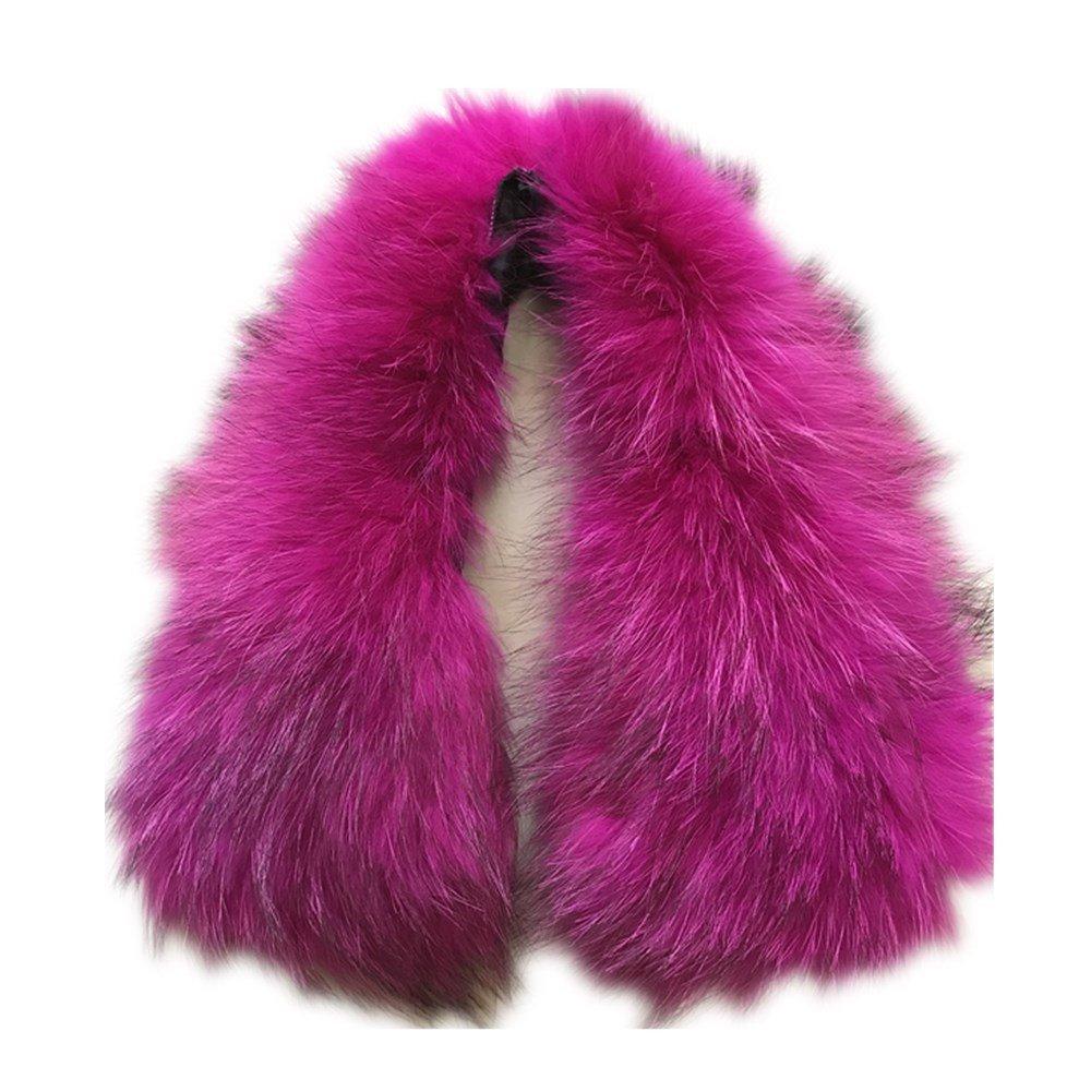 Ladies Stylish Genuine Raccoon short Fur Collar Scarf (50cm, rose)