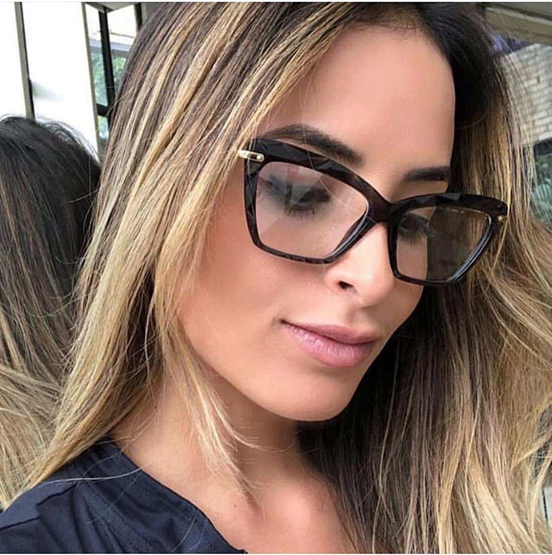 Amazon com feisedy cat eye glasses frame crystal non prescription eyewear women b2440 clothing