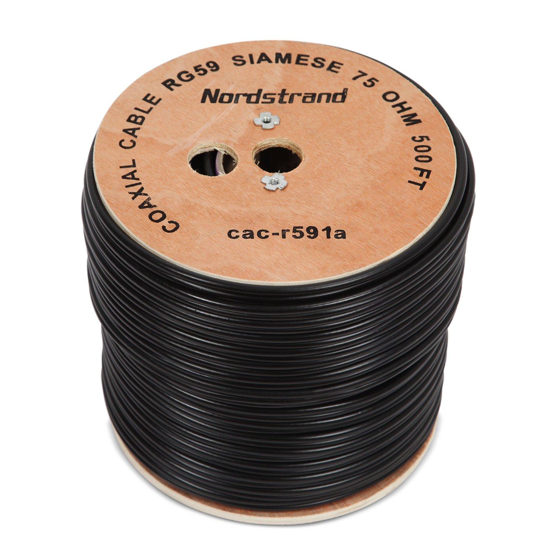 Nordstrand 500 M Cable Coaxial RG59 siameses Cable para CCTV cámara de seguridad - Combo de vídeo y alimentación - 20 AWG: Amazon.es: Electrónica