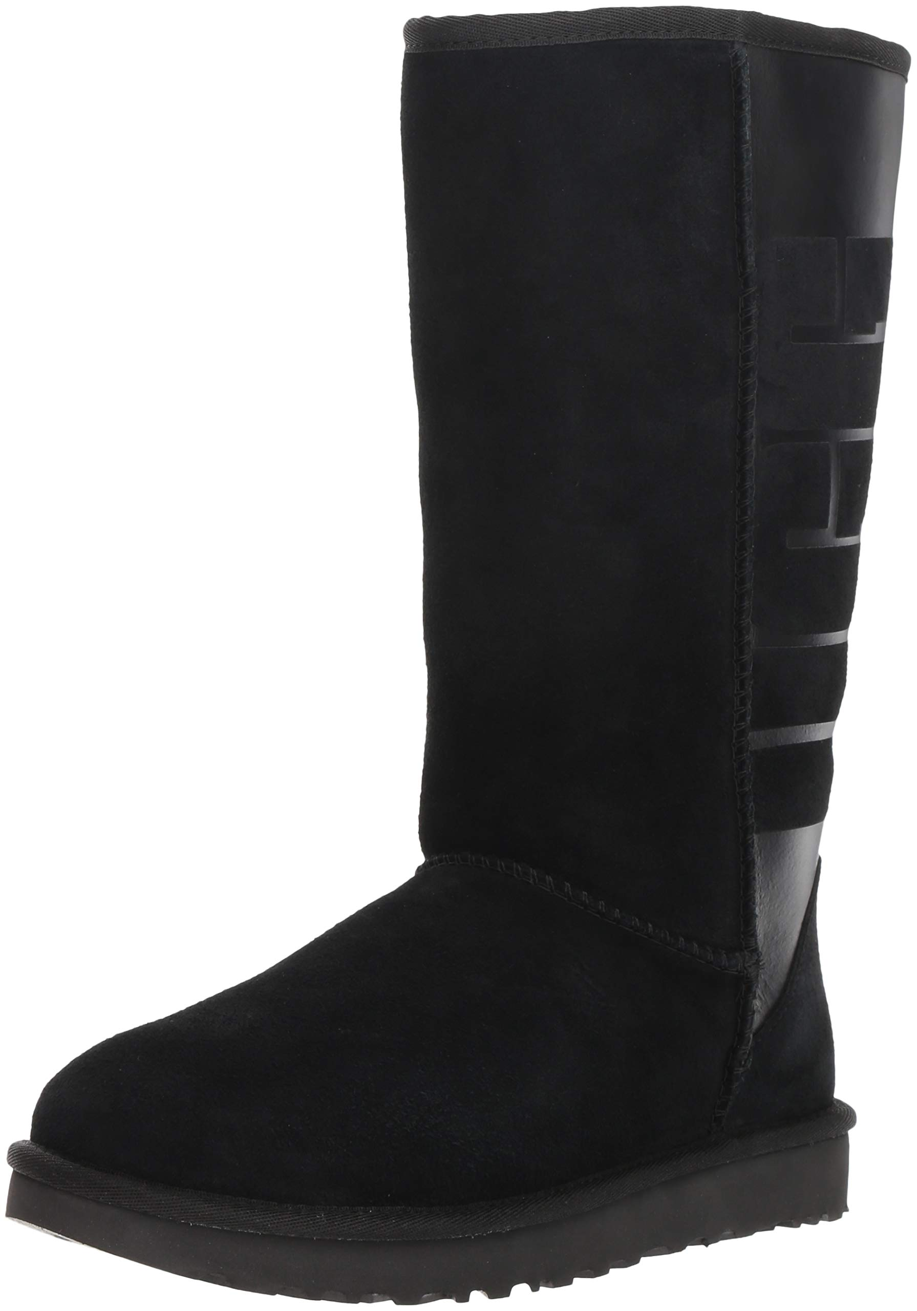 UGG Women's W CLASSIC TALL RUBBER Fashion Boot, black, 9 M US by UGG