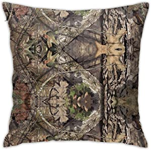 Mossy Oak Camo Square Throw Pillow Covers Hold Pillowcase for Sofa Couch Bedroom Home Decor 18 X 18 Inch