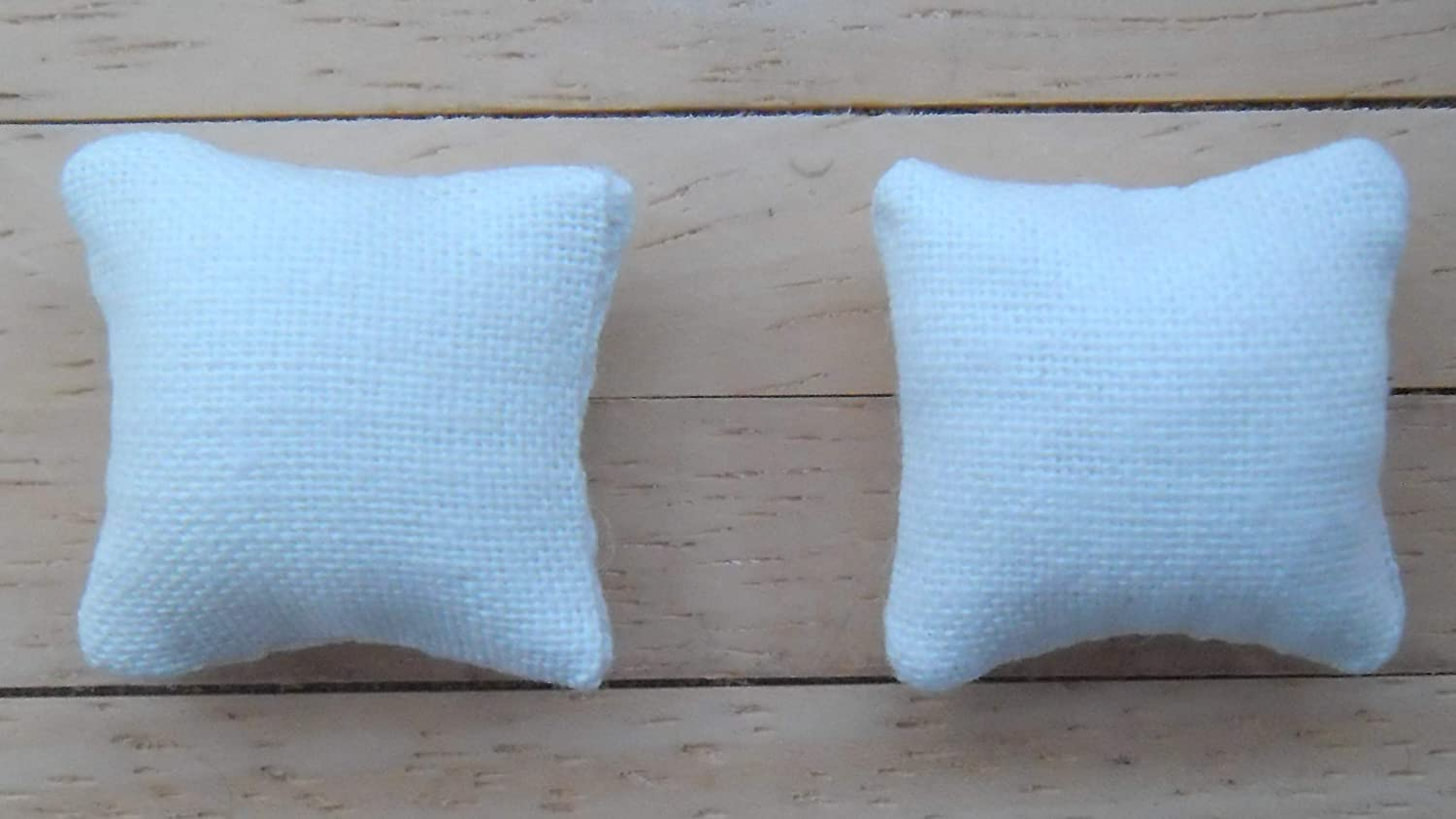 1//24th Scale Dolls House Printed Fabric Cushions in Pale Blue