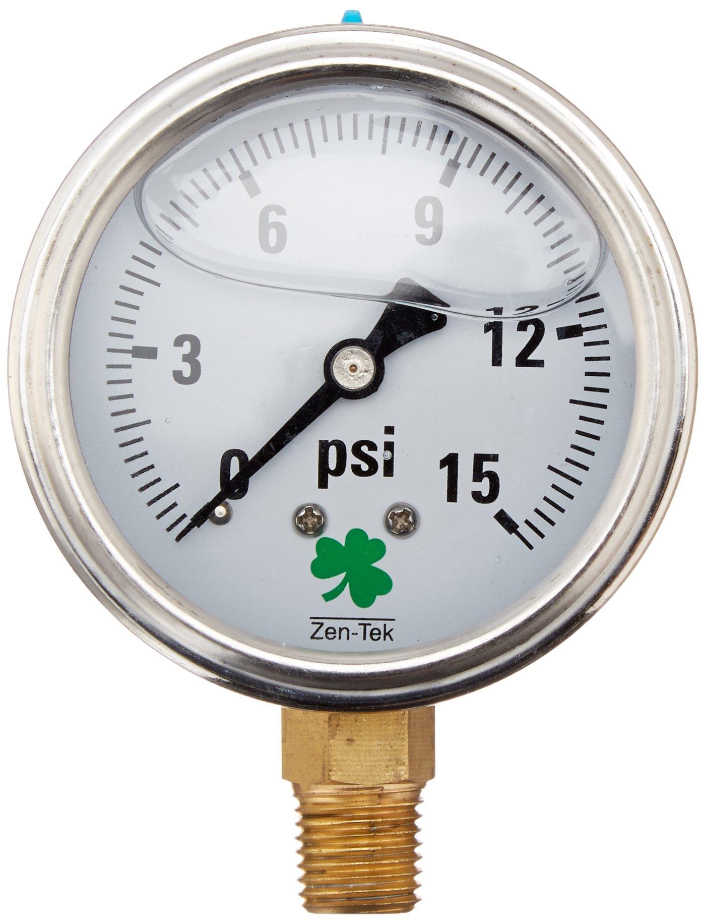 Zenport LPG15 Zen-Tek Glycerin Liquid Filled Pressure Gauge, 15 PSI by Zenport