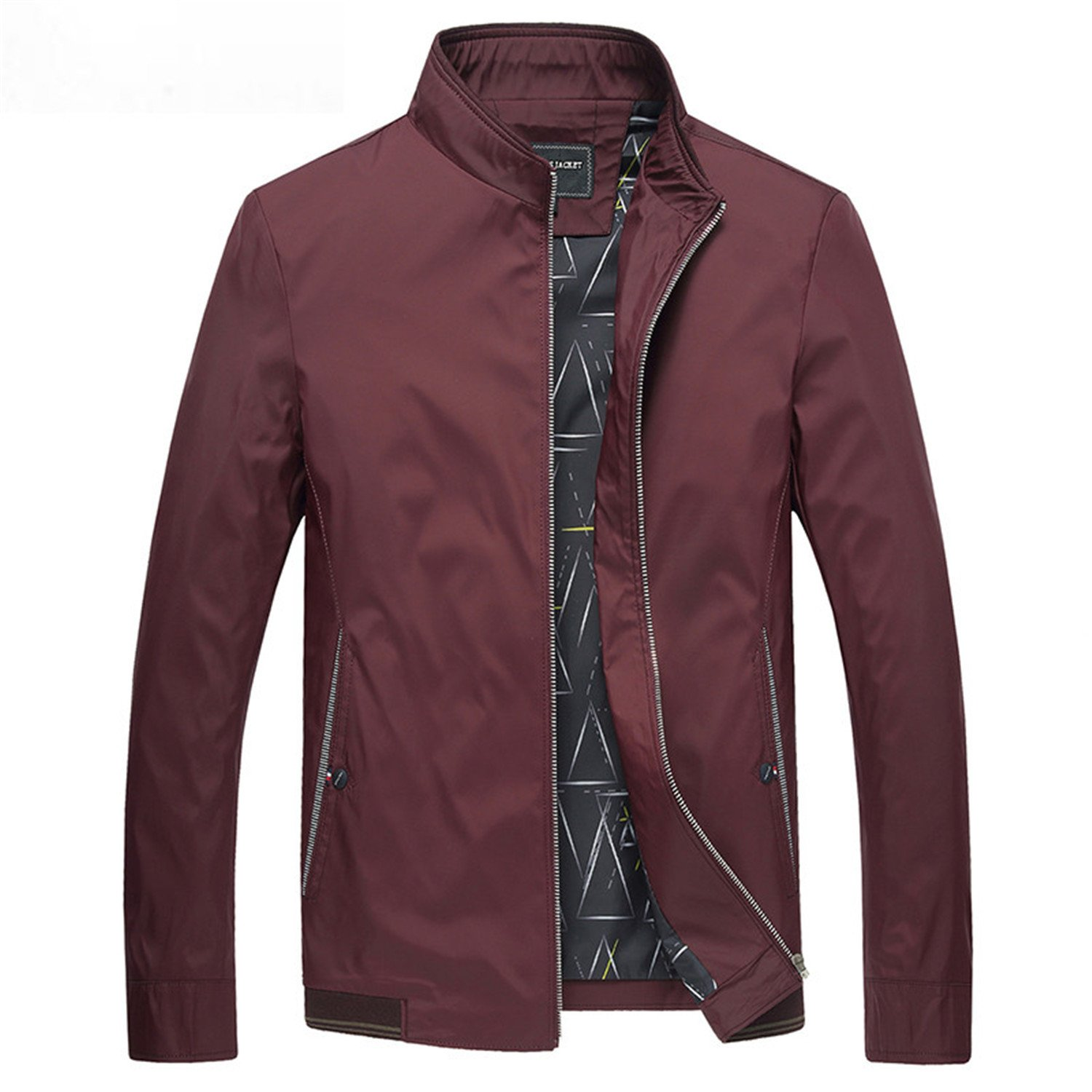 Jamemcabin Bomber Jacket Men Coat Spring Casual Basic Jacket Mens Army Zip Jackets Male Coat For Men Outwear Burgundy XL at Amazon Mens Clothing store: