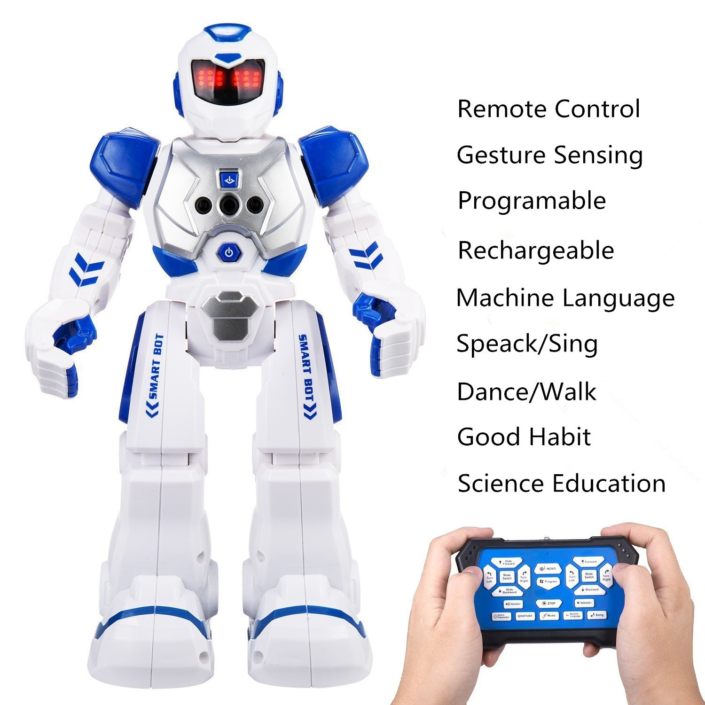 OYRGCIK Remote Control Robots for Kids, Gesture Sensing Wireless RC Smart Robot with LED Light, Singing, Dancing, Walking, Speaking, Teaching Science Children Toys for Boys Girls Teens