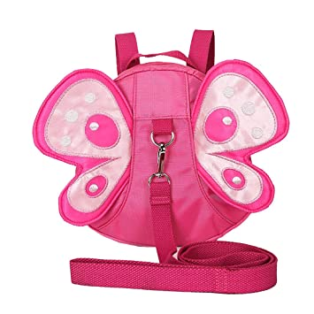 b103449ee6 Amazon.com   EPLAZA Toddler Walking Safety Butterfly Belt Backpack with  Leash Child Kid Harness Strap Bag (rose red backpack)   Baby