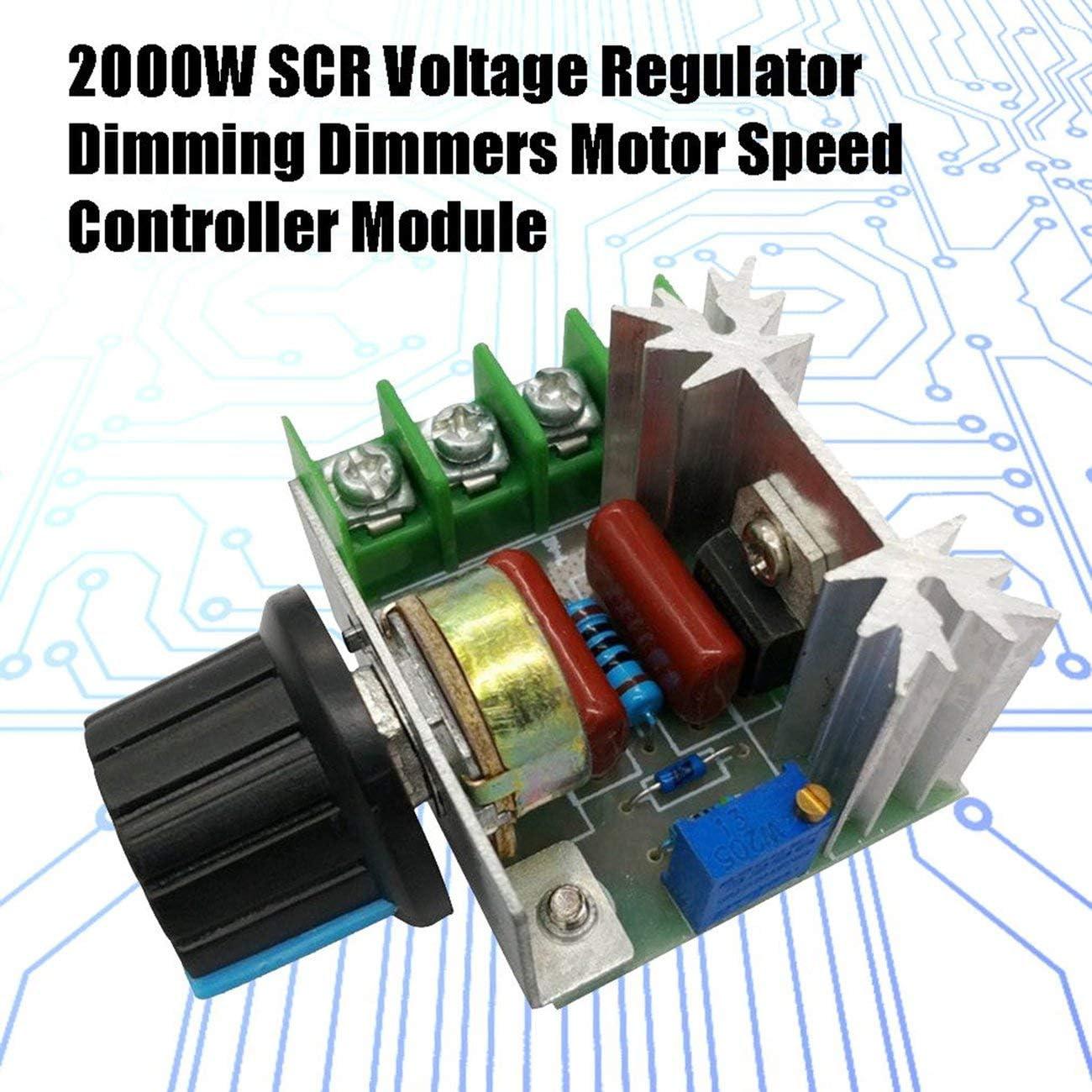 vert JIO-F R/égulateur de tension 2000W SCR Gradateurs de gradation Module de r/égulateur de tension du thermostat du contr/ôleur de vitesse du moteur