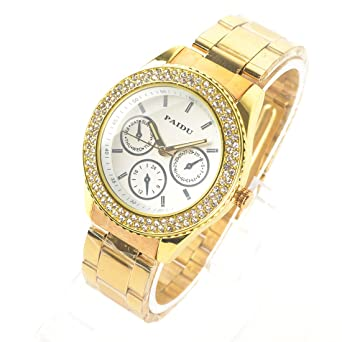 03a469f1e0a51b Surewatch Fashion diamond three fake gold dial steel quartz watch - white:  Amazon.co.uk: Watches