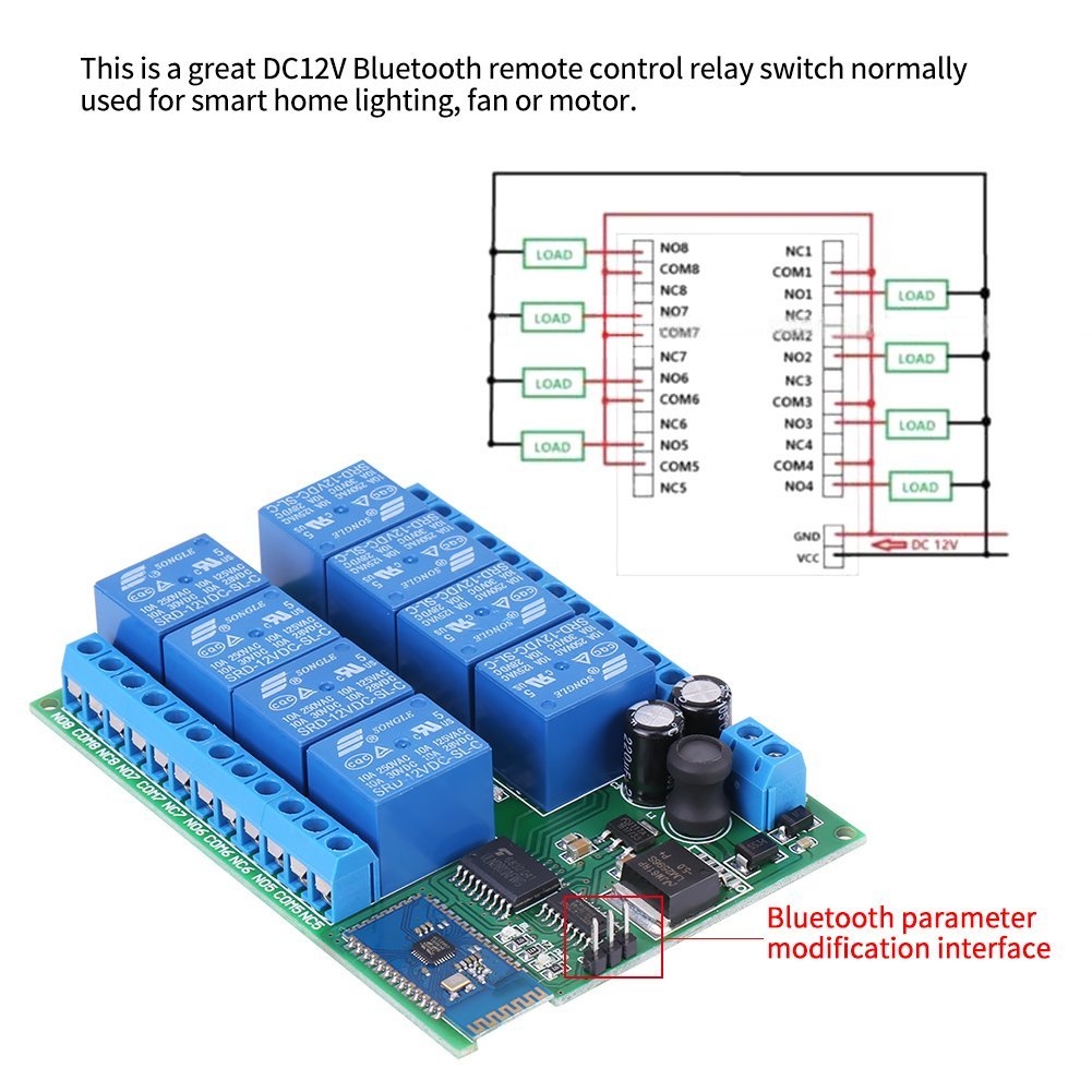 12V 8-Channel Bluetooth Relay Module Remote Control Switch