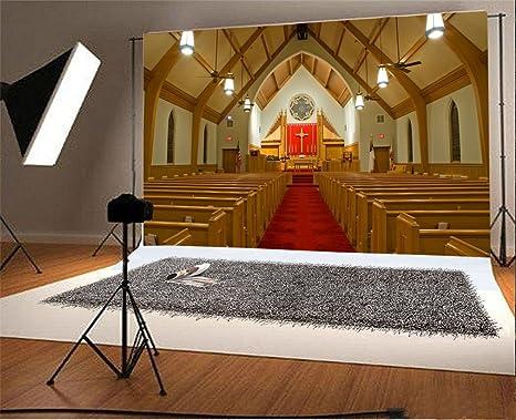YongFoto 2,2x1,5m Telón de Fondo Interior Lujo Iglesia Alfombra roja Droplight Cruz