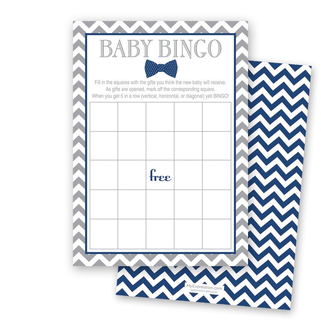 24 Bow Tie Baby Shower Bingo Cards - Littel Man Boy Baby Shower Game (Navy) by MyExpression.com