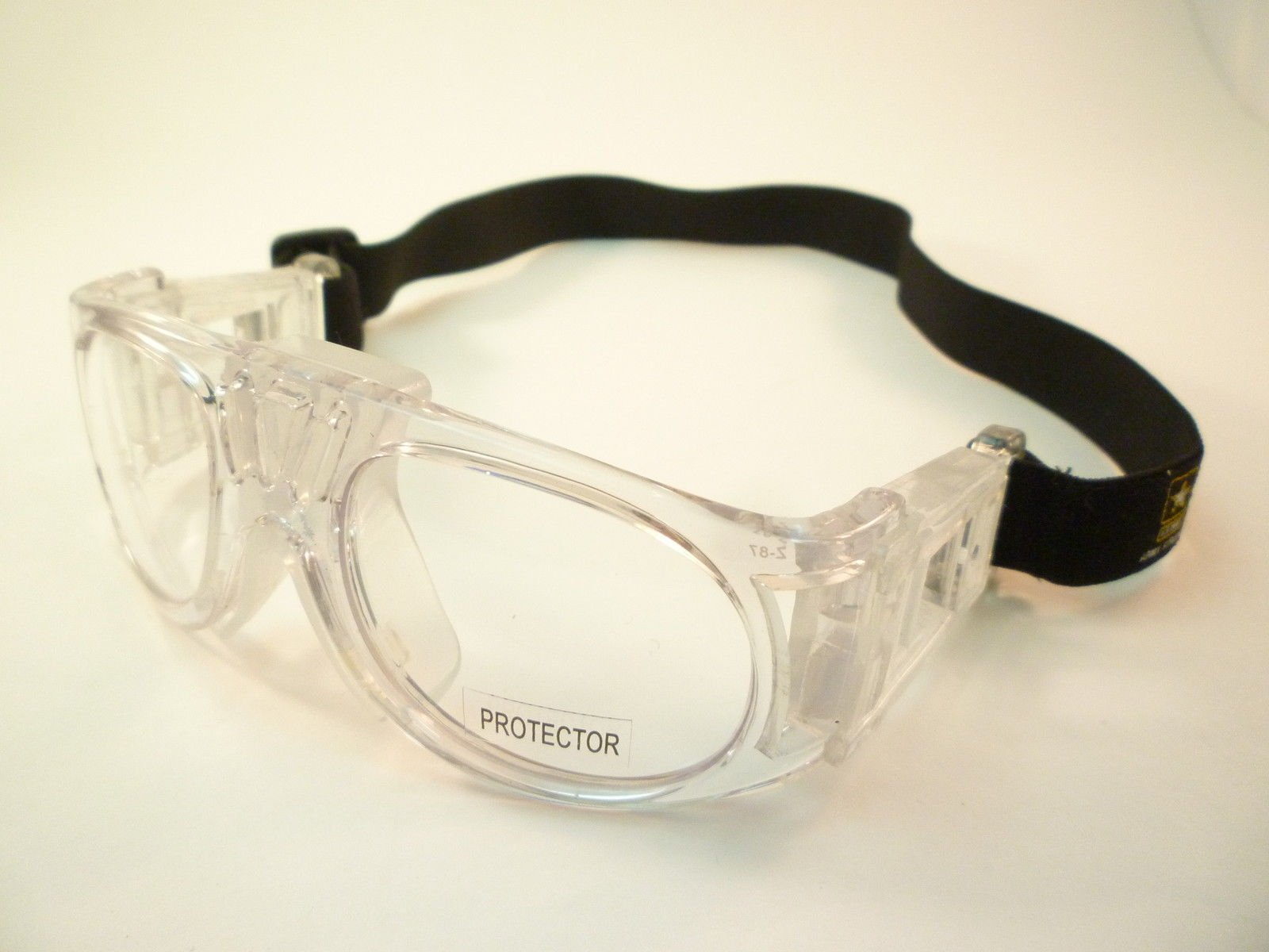 US Army Eyeglasses Protector Mens Sport Goggle Clear Plastic Large Frame & Strap