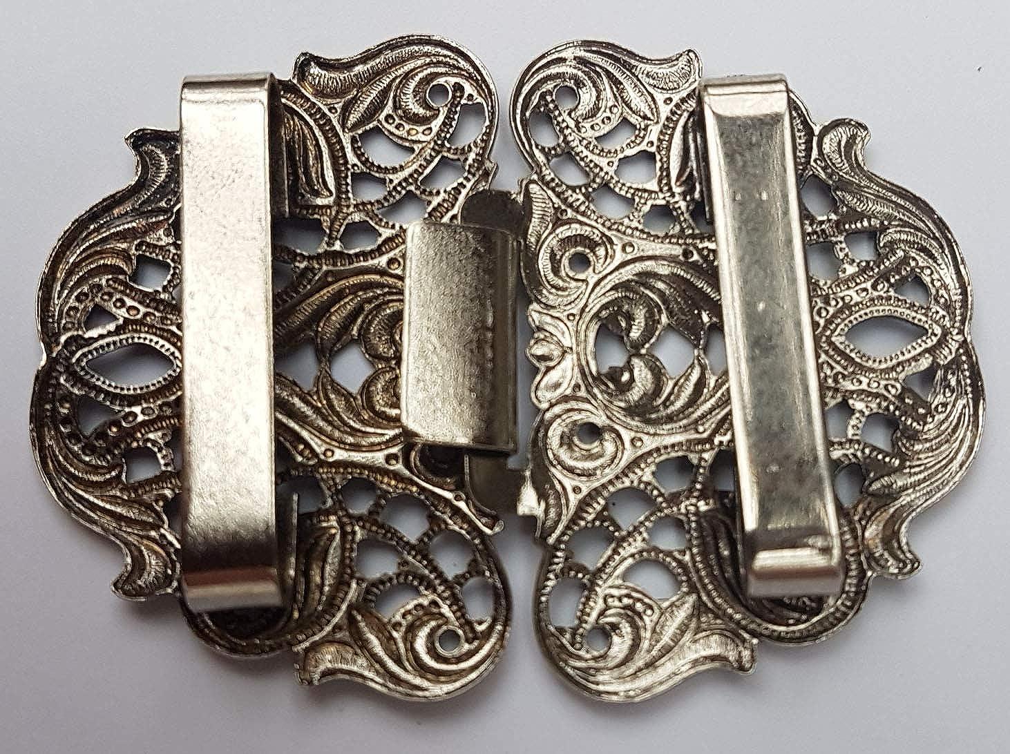 Pezzo Doro gro/ße Trachten Sch/ürzenschlie/ße Motiv Ornamente oval Farbe Altsilber