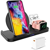 KKM Wireless Charger, 3 in 1 Wireless Charging Station, 10W Qi-Certified Fast Charging Stand Compatible with iPhone 13/13 Pro