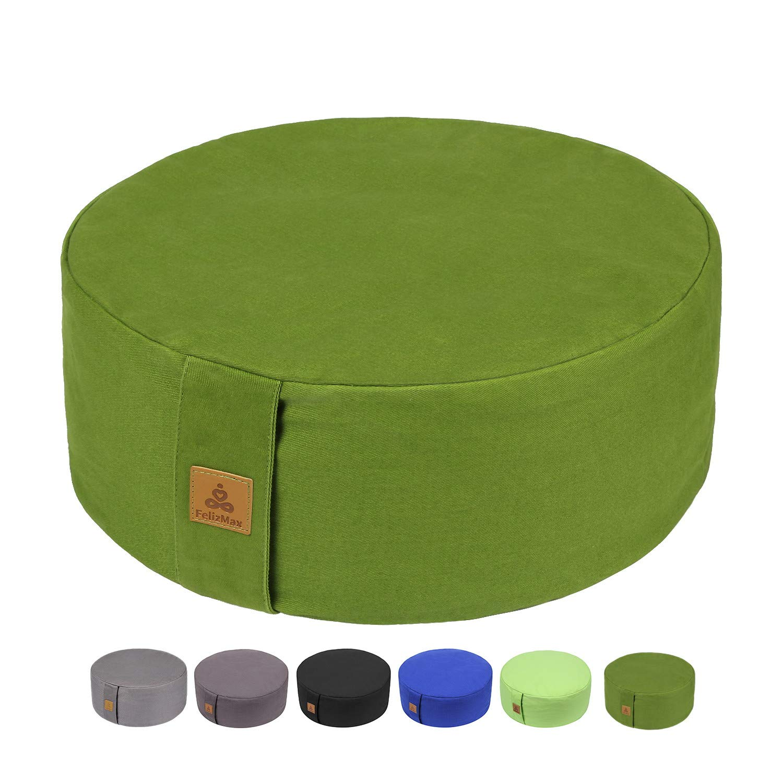 Zafu Buckwheat Meditation Cushion, Round zabuton Meditation Pillow, Yoga Bolster, Floor Pouf, Zippered Organic Cotton Cover, Machine Washable - 4 Colors and large small Sizes (Grass Green, 13''x13''x5'') by FelizMax