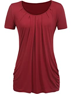 eb03a8d3e9c Halife Women's Scoop Neck Pleated Blouse Top Tunic Shirt Plus Size Wine Red  XXL