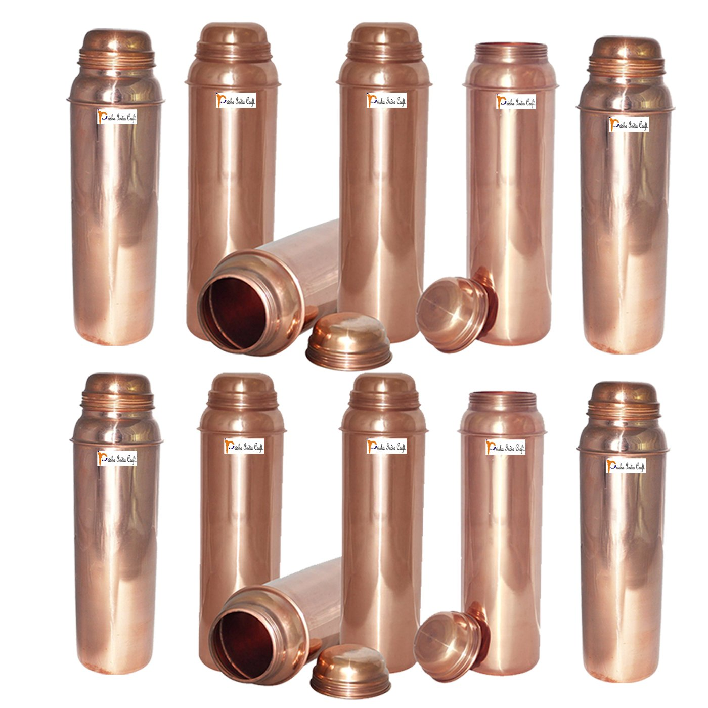 850ml / 28.74oz - Set of 12 - Prisha India Craft ® Pure Copper Water Bottle for Health Benefits - Water Pitcher Bottles - Handmade Christmas Gift Item